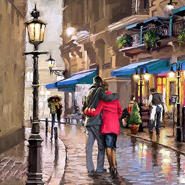 Canvas Painting 60x60 Paris Couple