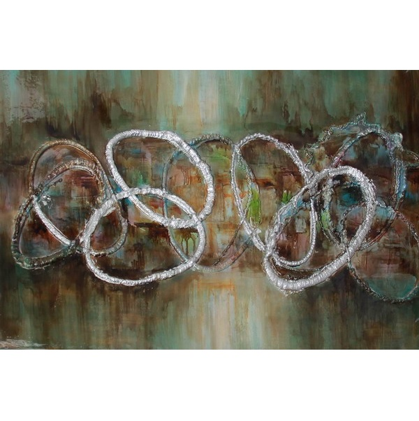 Canvas Painting 60x90 Silver Blue Circles