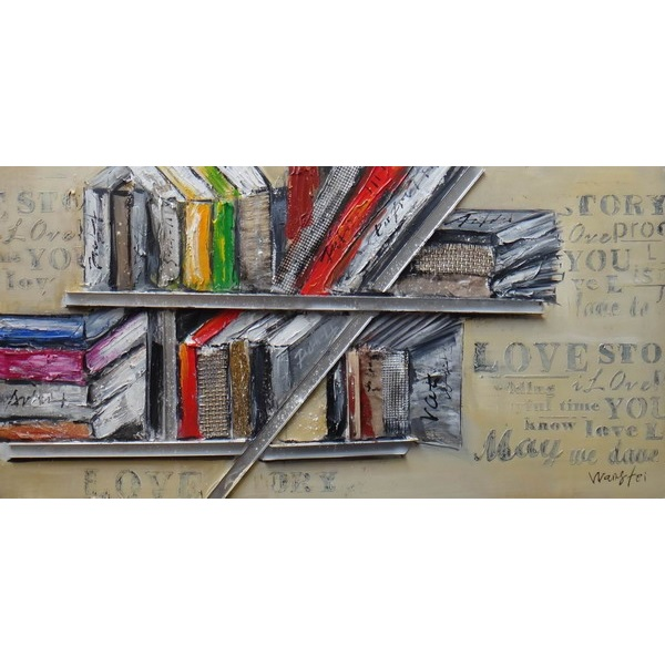 Canvas Painting 60x120 Bookshelf