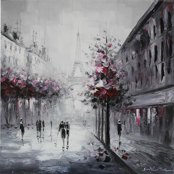 Canvas Painting 80x80 Eiffel Rain