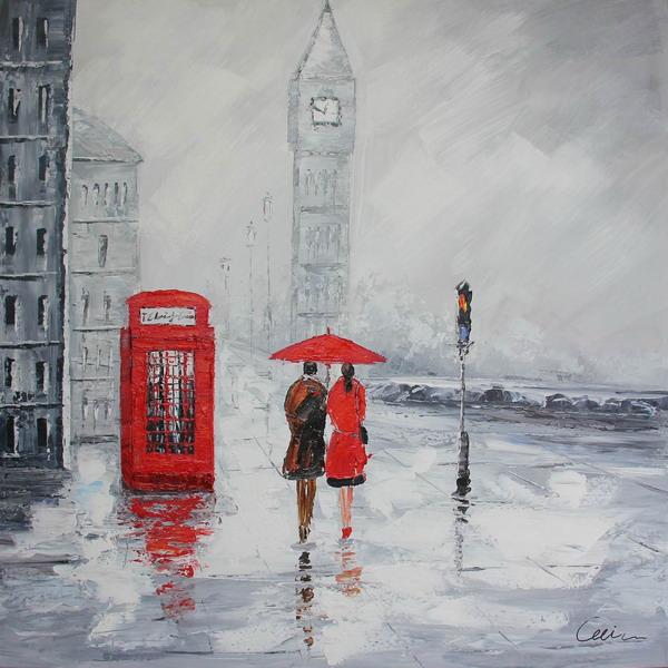 Canvas Painting 80x80 London Rain