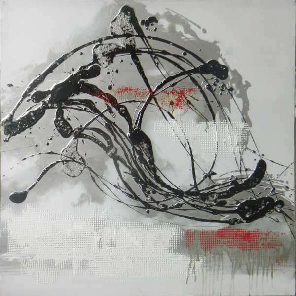 Canvas Painting 80x80 Black/Red