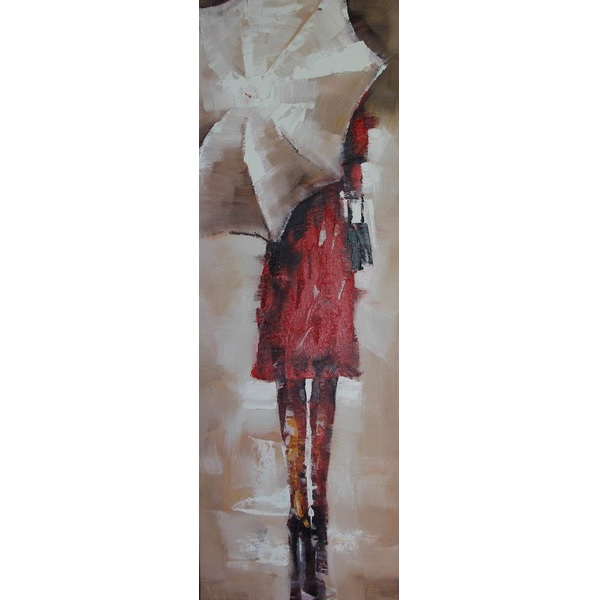 Canvas Painting 40x120 Lady Umbrella
